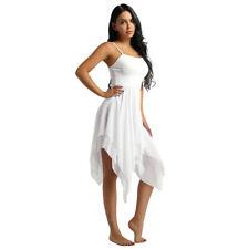 Sexy Women's Adult Ballroom Dance Dress Asymmetric Sleeveless Ballet Dancewear