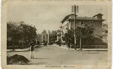 Egypt Heliopolis - Rue Lotus Synagogue? in the background old sepia postcard