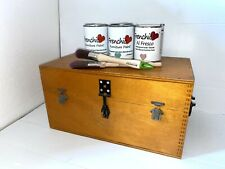❤️Vintage Storage Chest Art Box Craft Box Small Table Travel Trunk Lockible Tray