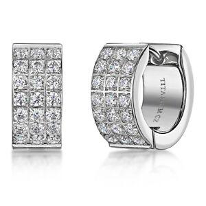 Titanium Earrings Multi Stone CZ Three Row Polished Earrings