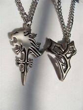 New 2pcs Set Final Fantasy Lion Heart & X Tidus Chain Pendant Cosplay Necklace