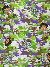 Dora Explorer and Boots Wild Life Camo 100% Cotton Fabric By-the-Yard