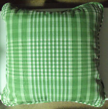 "Waverly Willow Green Cotton Plaid TIDEWATER 17"" Square Decorative Throw Pillow"