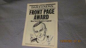 NY RANGERS HOF GOALIE ED GIACOMIN AUTOGRAPHED 3/15/1989 DAILY NEWS SPORTS FINAL