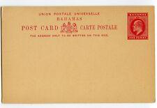 BAHAMAS POSTAL CARD ED VII 1d,#7, VERY CLEAN                            (Y945)
