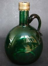 Antique 18th C. Georgian English Bristol blue green winedecanter pontil marked