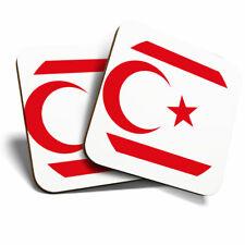 2 x Coasters - Northern Cyprus Nicosia Flag Home Gift #9142