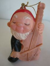 Vintage Plastic Blow Mold Dwarf Gnome Elf Playing Cello Christmas Ornament