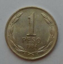 Chile 1 Peso 1984. KM#216.1. Reduced Size. Wide Date. One Dollar coin.