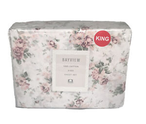 Bayview 4pc King Sheet Set 100% Cotton Classic Cottage Style Floral Shabby Chic