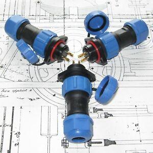 SP17 Bulkhead 2-Hole IP68 Waterproof Plug & Socket Circular Connector 2,3,4pin