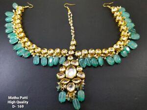 Gold tone Ethnic Matha Patti Kundan Traditional Head Piece Jewelry Sea Green