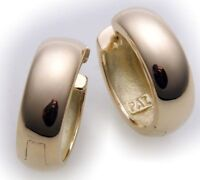 Damen Ohrringe Klapp Creolen Gold 750 18 karat gewölbt schwer 18 mm Gelbgold Neu