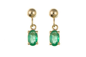 Emerald Earrings Yellow Gold Drop Oval Solitaire Drops Hallmarked Butterfly back