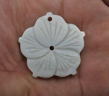 1Pcs white mother of pearl shell carved Flower pendant bead 35MM DIY Findings