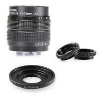 "35mm F/1.7 C mount CCTV 2/3"" lens body silver 12 blades for Canon EOS M EF-M EFM"