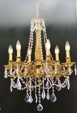 Palace Royal 6 Light  Antique Gold  Crystal Chandelier Light 20X25