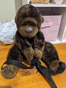 Brown Gorilla Backpack Plush African Animal 50ish cm