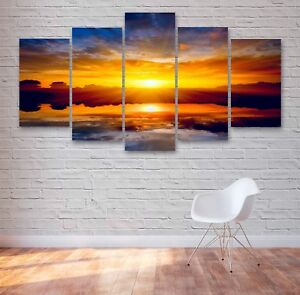 Beautiful Sunset, Blue Skys 5 Panel Canvas, Wall Art, Picture, Print #025