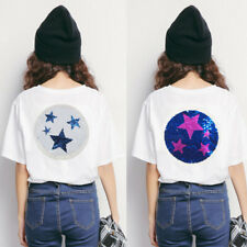 Fashion Star Paillette Sequin Patch Embroidered Reversible Color Badge DIY Craft