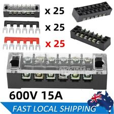 5pcs Dual Row 6 Positions Screw Terminal Block Screw Barrier Strip 600v 15a