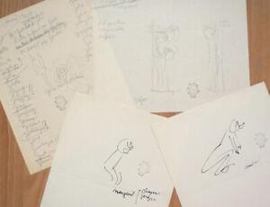 4 dessins originaux de Jean EFFEL (1908-1982) croquis Adam et Eve