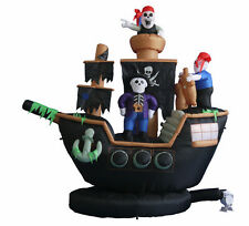 Halloween Inflatable Yard Air Blown Decoration Skeleton Crews on Pirate Ship