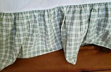 Laura Ashley  Queen  Green and White Plaid Bedskirt 14 Inch Drop