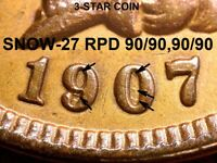 1907 Indian Head Cent - AU SNOW-27, 3-STAR TOP VARIETY REPUNCHED DATE (K450)
