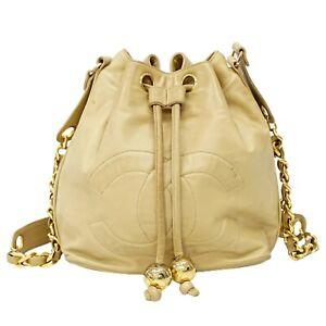 CHANEL Coco Mark Leather Drawstring Chain Shoulder Crossbody Hand Bag Beige Gold