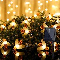 Solar Powered 30 LED String Lights 8 Modes Light Sensor Bee Lamp Garden Decor RG