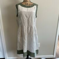Malvin Womens Size 12 I Love Linen White & Olive Green Striped Dress EUC
