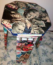 VINTAGE WOODEN COUNTRY STOOL-DECOUPAGED WITH MAGGIE THATCHER ETC!-QUIRKY