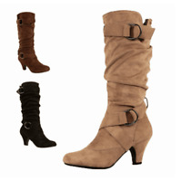 Womens Suede Plus Size Mid Calf Slouch Boots Round Toe Kitten Heel Buckle Shoes