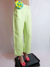 BIAGGINI Women's Vtg Retro Light Green Wide Leg Linen Trousers Pants sz 36 AQ51