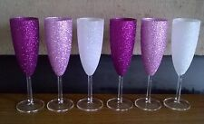 Set Of 6 Glitter Champagne Flutes İn Purple, Pink & White - Ready to Post