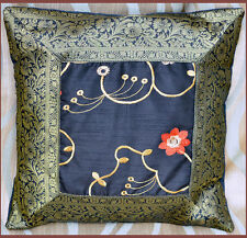 Set of two black silk floral embroidered hand made brocade border pillow cover!