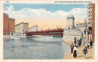 Illinois postcard Chicago New Michigan Boulevard Bridge pc IL