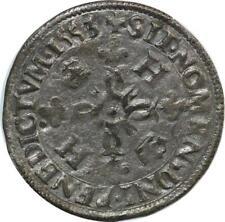 O7424 Rare Henri II douzain C couronnés 1553 A Paris SUP