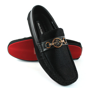 Black Driving Casual Shoes Moccasins Loafers Slip On Bee Buckle Alberto Fellini