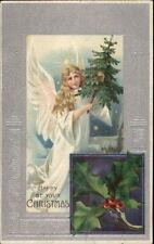 Angel w/ Christmas Tree - Silver Border c1910 Postcard