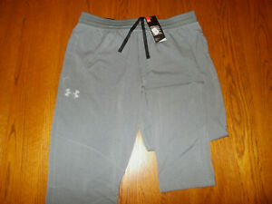 NWT UNDER ARMOUR GRAY FITTED TAPERED LEG ATHLETIC PANTS MENS XL 32 INSEAM