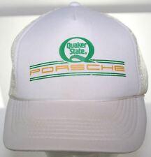 Vintage Quaker State Porsche Trucker Hat Snapback Cap - White & Beige