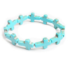 Natural Turquoise Green Cross Multi Stone Bracelet Healing Power Prayer Elastic