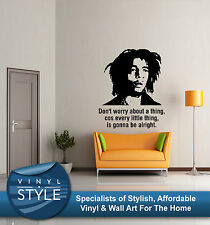 BOB MARLEY DONT WORRY 3 LITTLE BIRDS LYRICS STICKER WALL ART VARIOUS COLORS