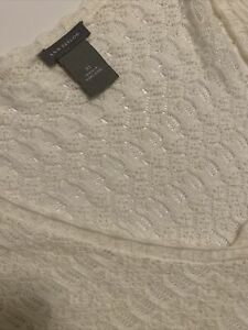 Ann Taylor Beautiful Pointelle Knit sweater Spring Cream XL NWOT