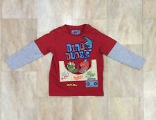 Boys Tu Long Sleeve Cotton Top Red And Grey Dinosaurs Skateboard Age 2 - 3 Years