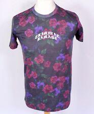 Criminal Damage Camiseta Floral S M Slim Fit Tatuaje Festival Rosa Púrpura Emo Goth