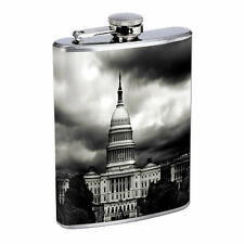 Washington D.C. D3 Flask 8oz Stainless Steel Hip Drinking Whiskey Monuments