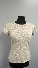 BANANA REPUBLIC Gray Beige Wool Cashmere Animal Print Crewneck Sweater Sm GG1502
